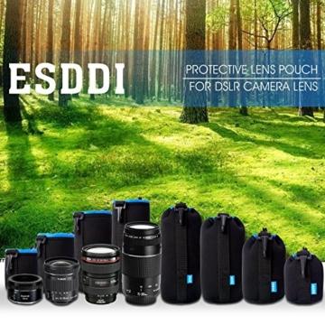 ESDDI Objektivtasche mit Samtfutter Innen Schützenden Neopren Objektivbeutel für DSLR-Kamera-Objektiv mit 4 Größe Multi Pack, Schwarz Blau -
