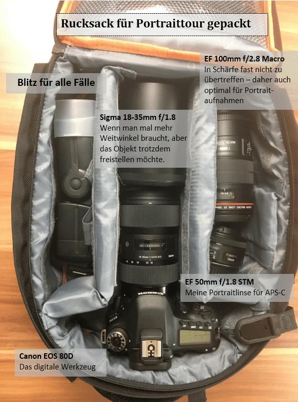 Fotorucksack portraitfotografie