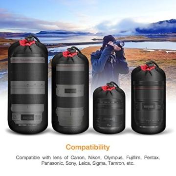 APEMAN Objektivtasche Set Objektivbeutel 4 Größe Multi Pack Objektivköcher mit stabilen, langlebigen und schützenden Neopren für Canon, Nikon, Sony, Panasonic, Pentax, Olympus DSLR Kamera Objektive - 8