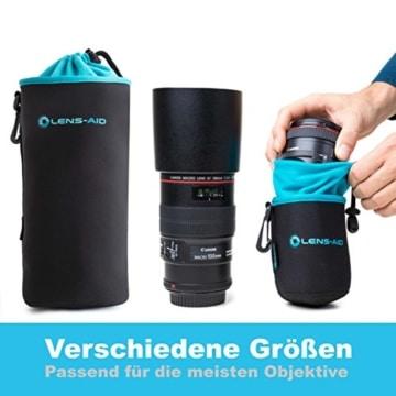 Lens-Aid Neopren Objektivbeutel mit Fleece-Fütterung als Set oder einzeln Objektivtasche bzw. Köcher als Schutz für Objektiv, Blitz, Monitor, Kamera-Zubehör - 3