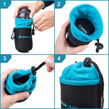 Lens-Aid Neopren Objektivbeutel mit Fleece-Fütterung als Set oder einzeln Objektivtasche bzw. Köcher als Schutz für Objektiv, Blitz, Monitor, Kamera-Zubehör - 7